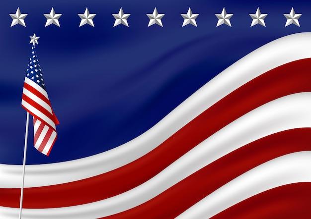 Drapeau américain Vecteur Premium