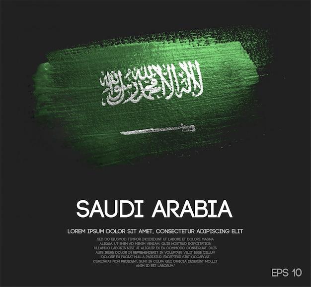 Drapeau de l'arabie saoudite fait de la peinture de pinceau d'étincelle de scintillement Vecteur Premium