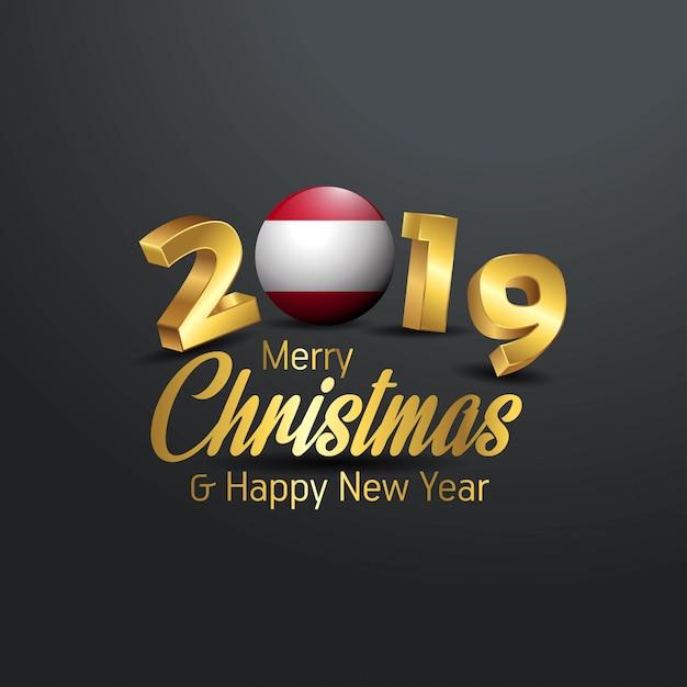 Drapeau De L'autriche 2019 Joyeux Noël Typographie Vecteur Premium