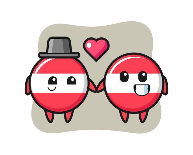 Drapeau Autriche Insigne Couple De Personnage De Dessin Animé Avec Le Geste De Tomber Amoureux Vecteur Premium
