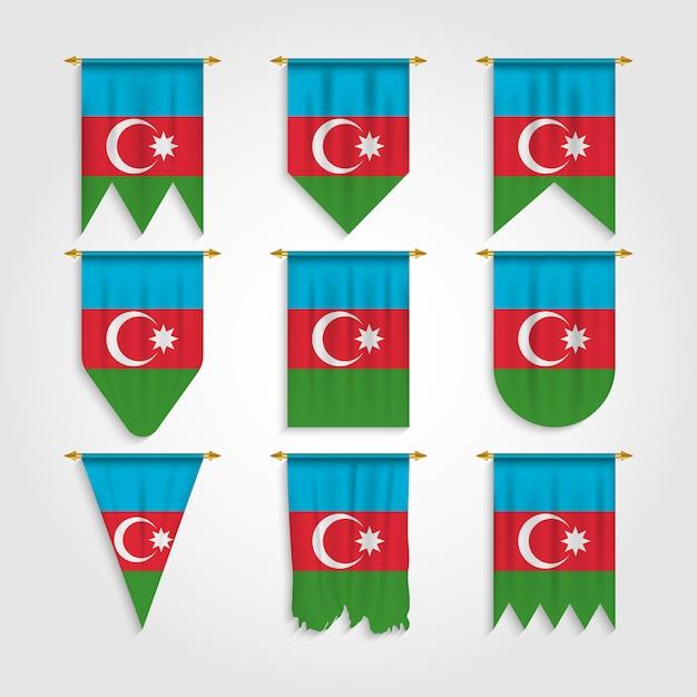 Drapeau De L'azerbaïdjan Sous Différentes Formes Vecteur Premium
