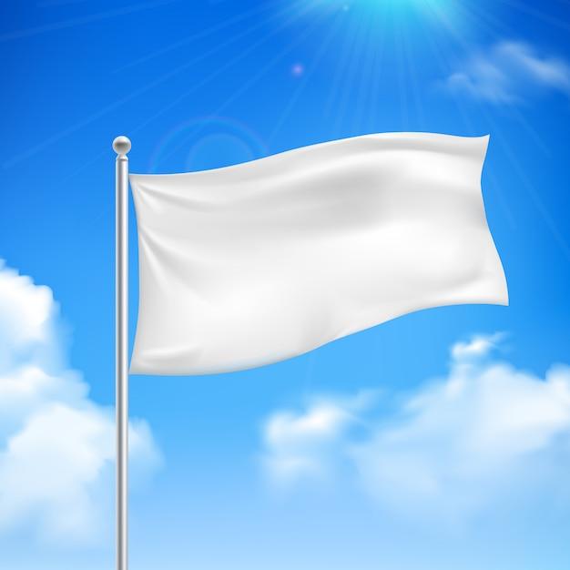 Drapeau blanc dans le vent contre le ciel bleu avec des nuages blancs fond bannière résumé Vecteur gratuit