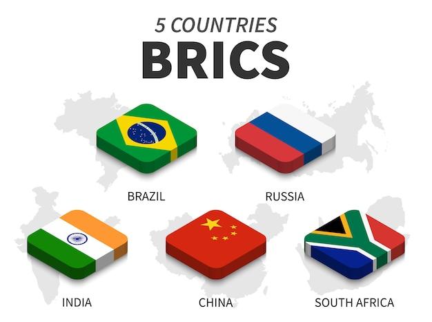 Drapeau brics. association de 5 pays et carte sur fond blanc. top design isométrique. vecteur Vecteur Premium