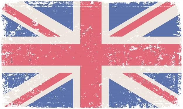 Drapeau britannique dans le style grunge Vecteur Premium