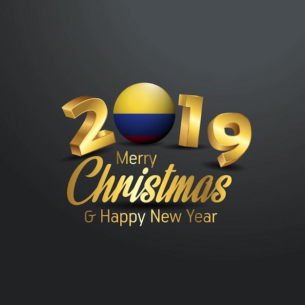 Drapeau De La Colombie 2019 Joyeux Noël Typographie Vecteur Premium