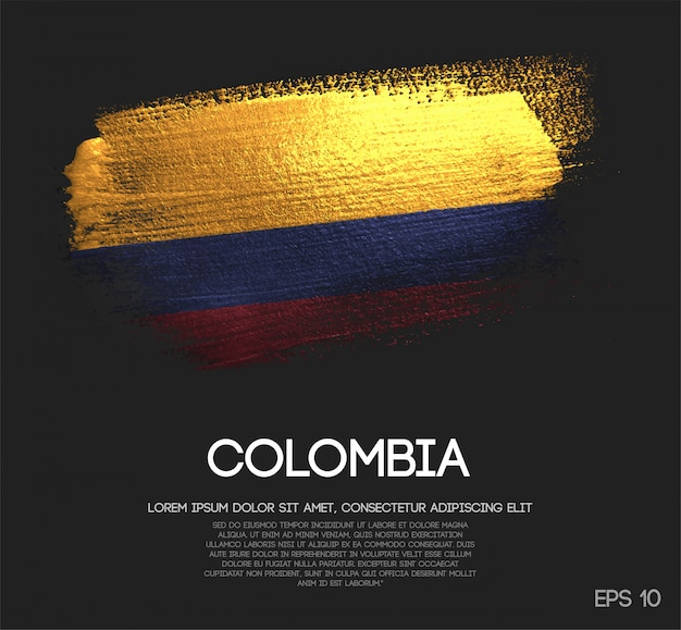 Drapeau de la colombie fait de peinture de pinceau d'étincelle de scintillement Vecteur Premium