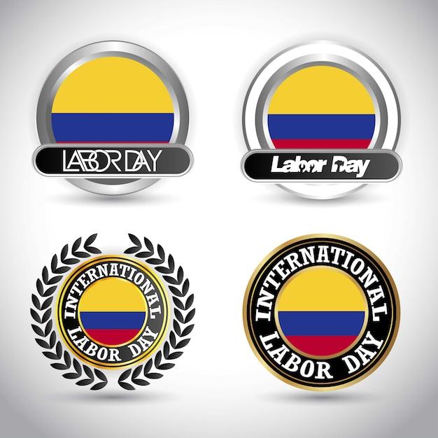 Drapeau De La Colombie Avec Le Vecteur De Conception De Jour De Travail Vecteur Premium