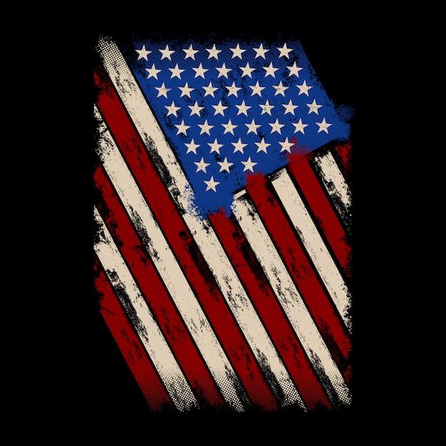 Drapeau de détresse de fond drapeau américain Vecteur Premium