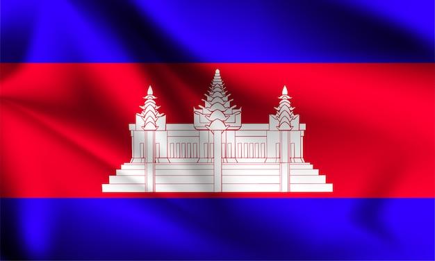 Drapeau Du Cambodge Dans Le Vent. Partie D'une Série. Agitant Le Drapeau Du Cambodge. Vecteur Premium