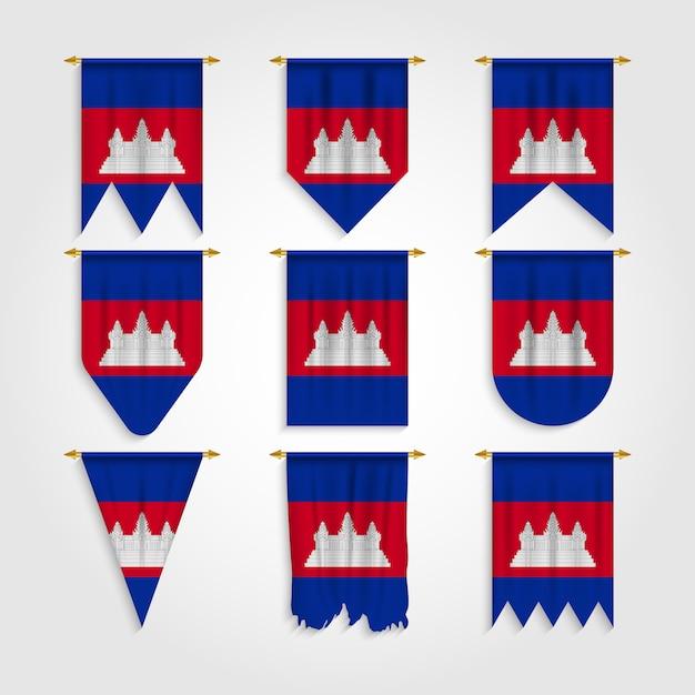 Drapeau Du Cambodge Sous Différentes Formes, Drapeau Du Cambodge Sous Différentes Formes Vecteur Premium