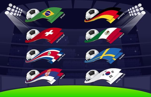Drapeau du football mondial 2018 vol3 Vecteur Premium
