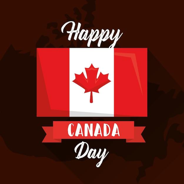 Drapeau Du Jour Heureux Canada Sur La Carte Géographique Vecteur Premium