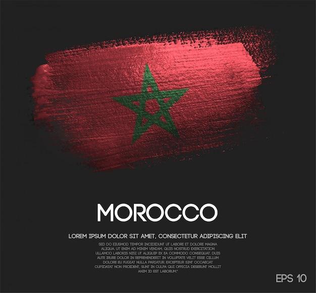 Drapeau du maroc fait de peinture scintillante brush sparkle Vecteur Premium