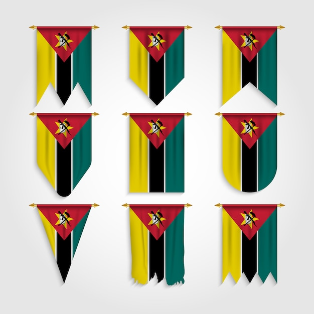 Drapeau Du Mozambique Sous Différentes Formes, Drapeau Du Mozambique Sous Différentes Formes Vecteur Premium