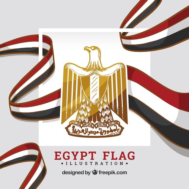 Drapeau De L'egypte Avec Bouclier Vecteur gratuit