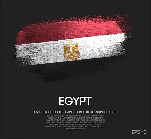 Drapeau de l'egypte fait de peinture de pinceau étincelante de scintillement Vecteur Premium