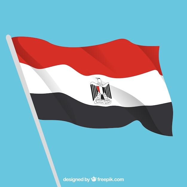 Drapeau égyptien élégant avec un design plat Vecteur gratuit