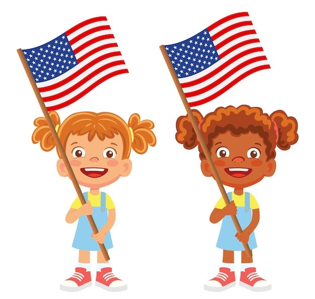 Drapeau Des états-unis D'amérique à La Main. Enfants Tenant Un Drapeau. Drapeau National Des états-unis D'amérique Vecteur Premium