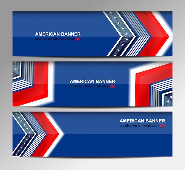 Drapeau des états-unis bannière fond pour le jour de l'indépendance Vecteur Premium