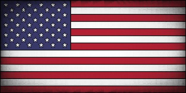 Drapeau des états-unis dans le style de bande dessinée Vecteur Premium