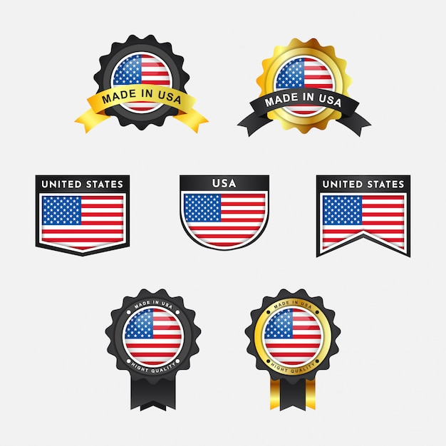 Drapeau Des états-unis Avec Des étiquettes D'insigne Emblème Vecteur Premium