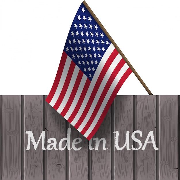 Drapeau Des états-unis Et Les Mots Made In Usa Sur Une Planche De Bois Vecteur Premium
