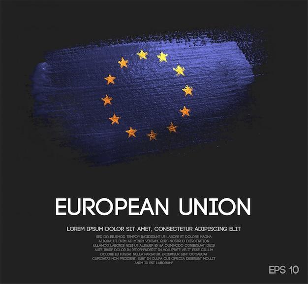 Drapeau Européen En Peinture à Paillettes Scintillantes Vecteur Premium