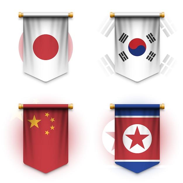 Drapeau De Fanion Réaliste Du Japon, De La Corée Du Sud, De La Chine Et De La Corée Du Nord Vecteur Premium