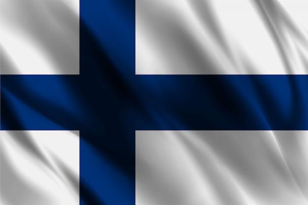 Drapeau Finlande Ondulant Abstrait   Vecteur Premium