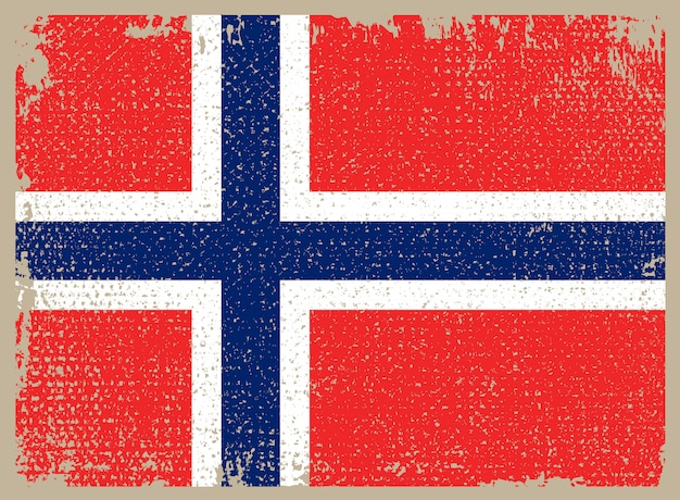 Drapeau grunge de norvège Vecteur Premium