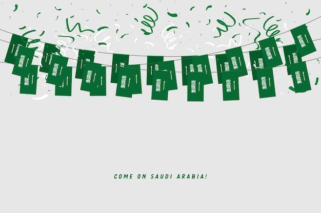 Drapeau de la guirlande de l'arabie saoudite avec des confettis sur fond gris. Vecteur Premium