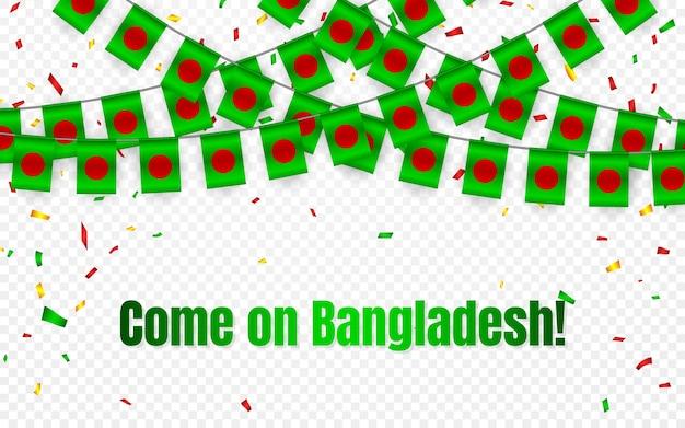 Drapeau De Guirlande Du Bangladesh Avec Des Confettis Sur Fond Transparent, Accrocher Des Banderoles Pour La Bannière De Modèle De Célébration, Vecteur Premium