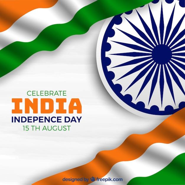 Drapeau indien agitant le jour de l'indépendance Vecteur gratuit