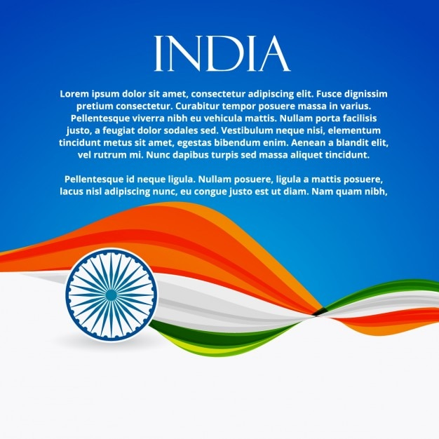 Drapeau indien avec un style d'onde Vecteur gratuit