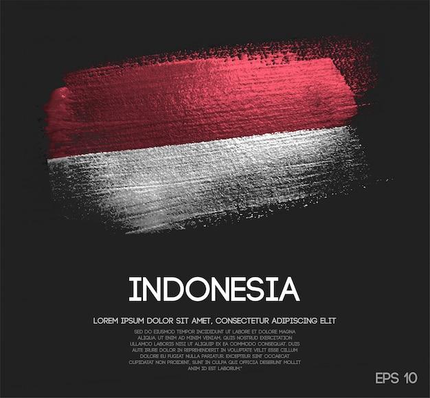 Drapeau de l'indonésie fait de peinture de pinceau d'étincelle de scintillement Vecteur Premium