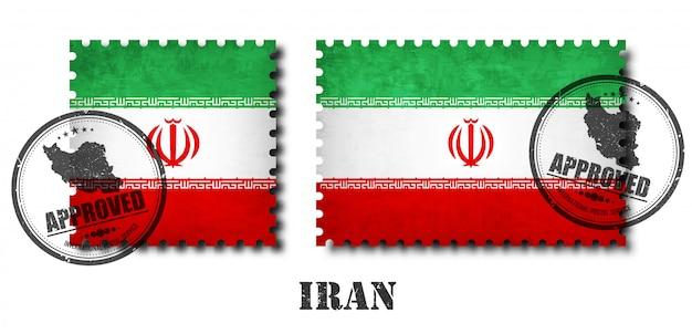 Drapeau Iranien Ou Iranien Modèle Timbre-poste Vecteur Premium