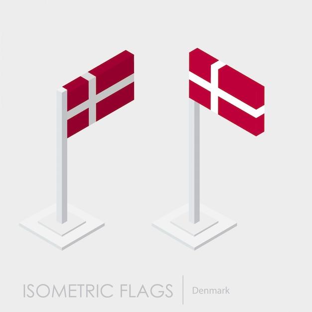 Drapeau Isométrique Danemark Vecteur gratuit