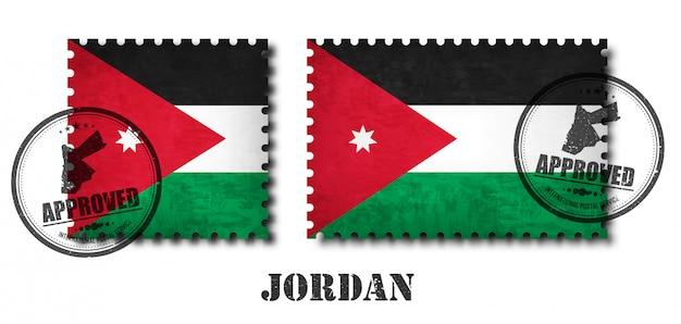 Drapeau de la jordanie ou du drapeau jordanien Vecteur Premium