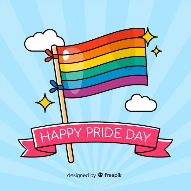 Drapeau de jour de fierté aux couleurs de l'arc-en-ciel Vecteur gratuit
