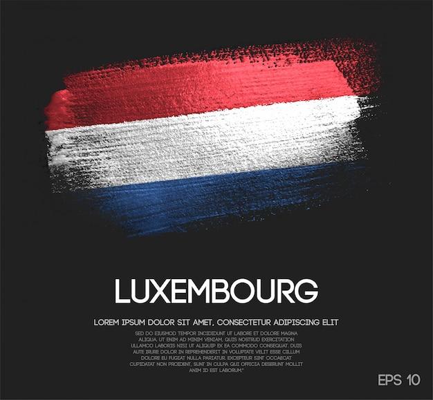 Drapeau luxembourgeois fait de peinture scintillante à paillettes scintillantes Vecteur Premium