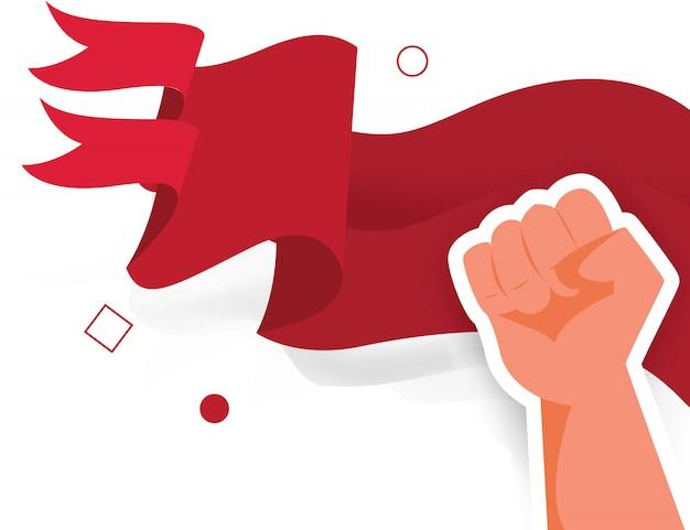 Drapeau main poing homme démocratie élection liberté patriote jour Vecteur Premium