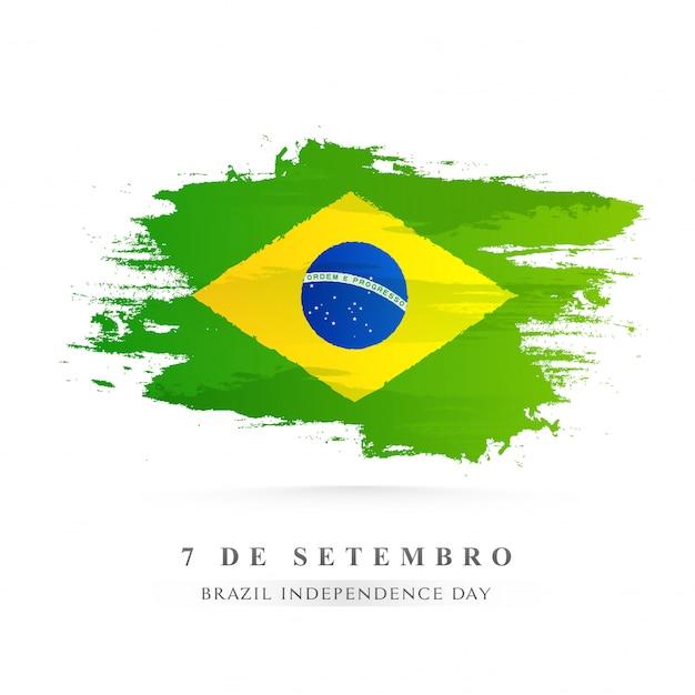 Drapeau national créatif brésil couleur pinceau fond Vecteur Premium
