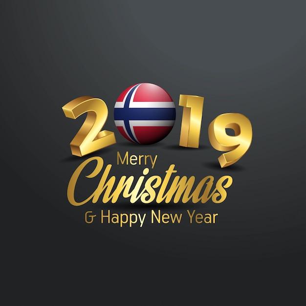Drapeau de la norvège 2019 joyeux noël typographie Vecteur Premium