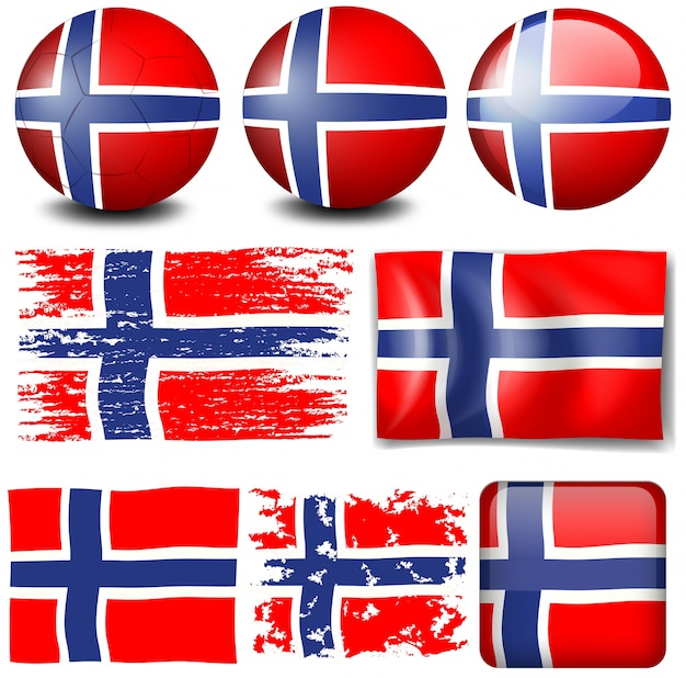 Drapeau de la norvège sur les objets différents illustration Vecteur gratuit