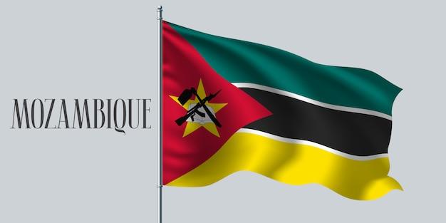 Drapeau Ondulé Du Mozambique Vecteur Premium