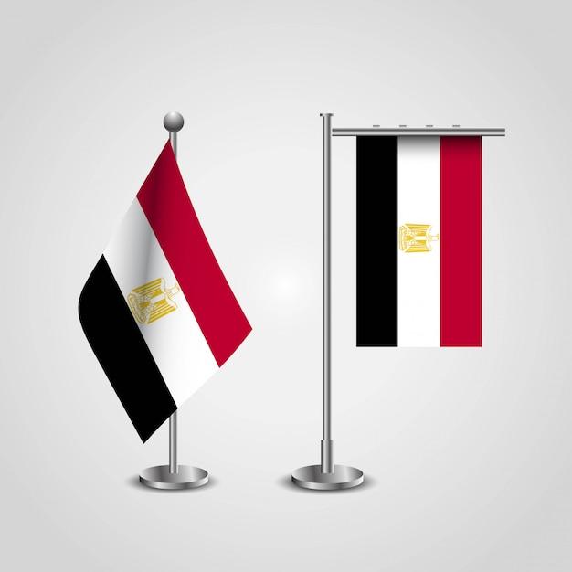 Drapeau de pays égyptien sur poteau Vecteur Premium