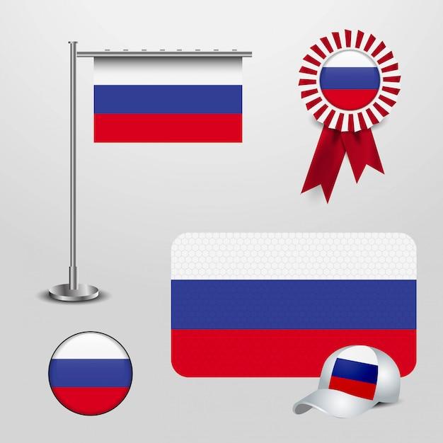 Drapeau De Pays De La Russie Haning Sur Le Poteau, Bannière D'insigne De Ruban, Chapeau De Sport Et Bouton Rond Vecteur Premium
