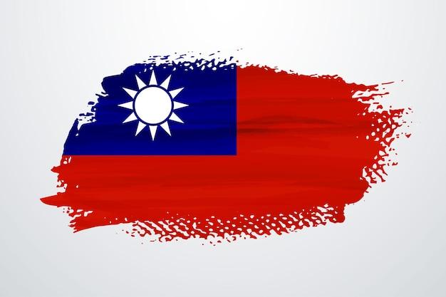 Drapeau De Peinture Pinceau Taiwan Vecteur Premium