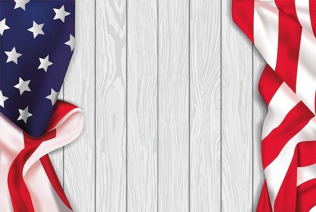 Drapeau Réaliste Américain Vintage Sur Fond De Bois Blanc Vecteur Premium