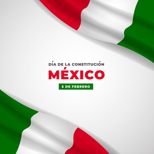 Drapeau Réaliste Du Jour De La Constitution Du Mexique Vecteur gratuit